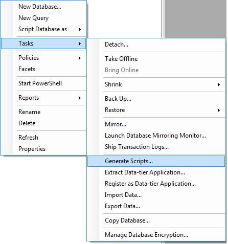 Create Script of the whole database