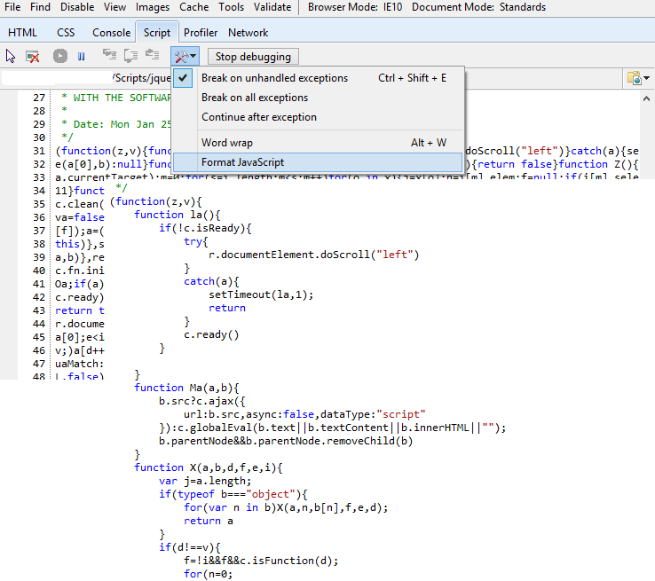IE Developer Tool – Minified JavaScript – Make it Neat! | Work and