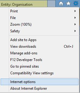 Internet Options