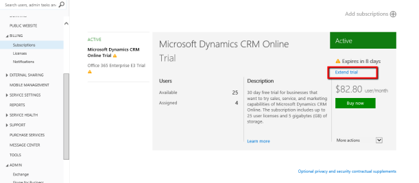 extending crm online trial without support ticket